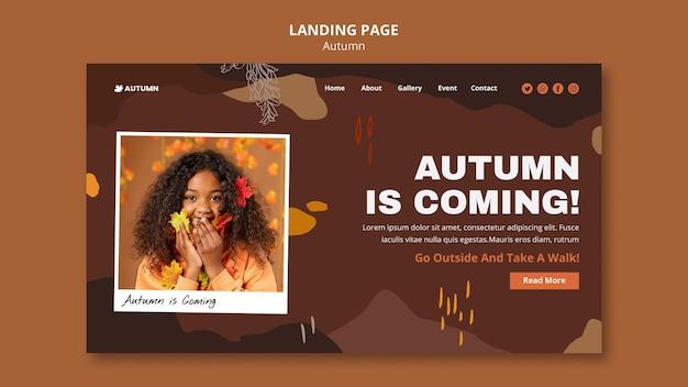Autumn season landing page template