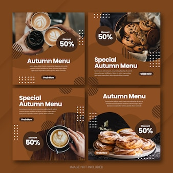 Autumn season sale instagram post bundle template premium psd