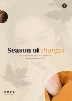Autumn season web template with beautiful woman