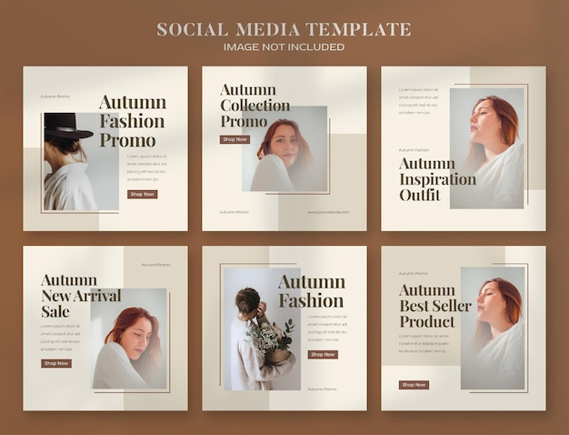 Autumn social media banner and instagram post template