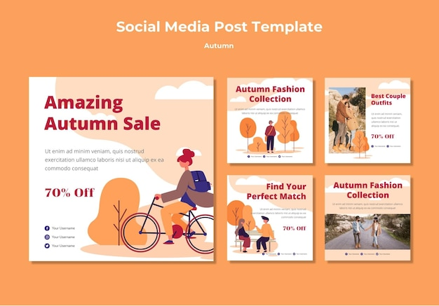 Autumn social media post collection