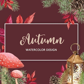 Autumn-themed banner with border frame