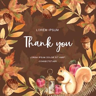 Autumn-themed card with border frame
