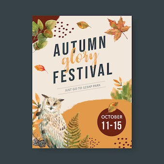 Autumn themed poster with vibrant foliage template