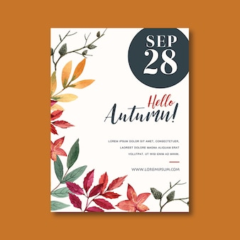 Autumn themed poster with vibrant leaves template