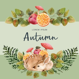 Autumn-themed template with border frame.