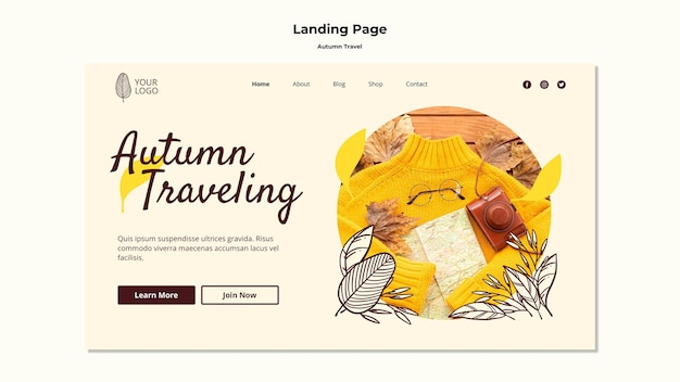 Autumn traveling landing page template