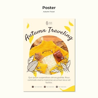 Autumn traveling poster template