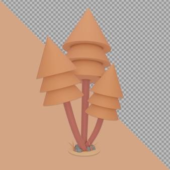 孤立した秋の木のデザインレンダリング