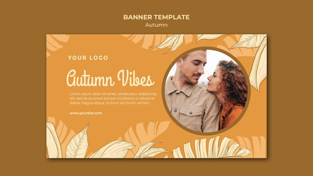 Autumn vibes banner web template