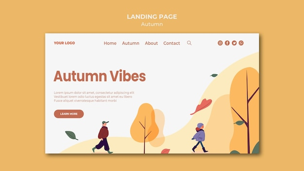 Autumn vibes landing page template