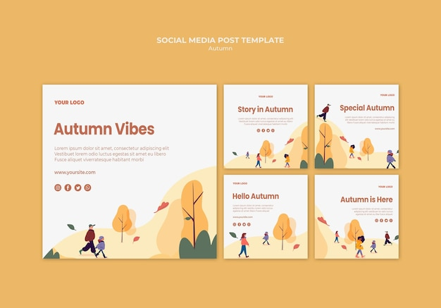 Autumn vibes social media post template