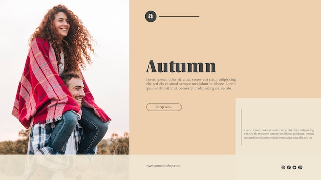 Autumn web template with cute couple