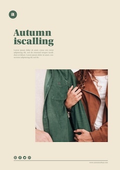 Autumn web template with man and woman