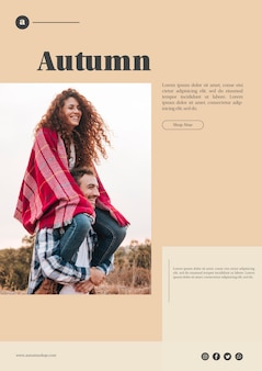 Autumn web template with smiley couple