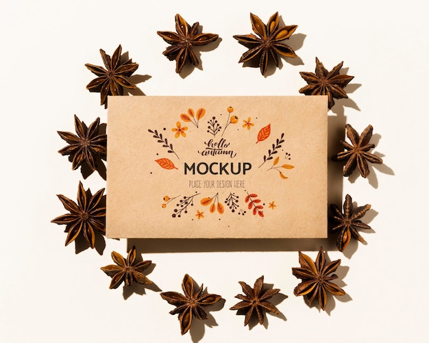 Autumnal mock-up with flowers