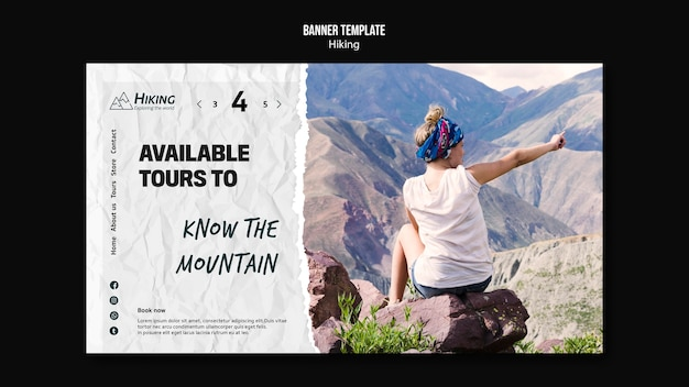 Available tours hiking banner template
