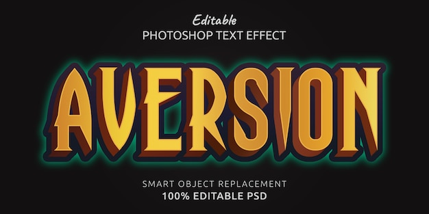 Aversion редактируемый текстовый эффект