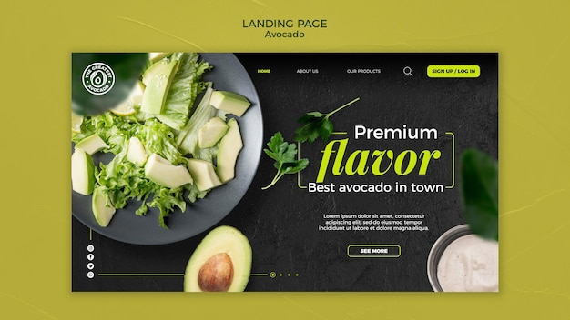 Modello di pagina di destinazione del concetto di avocado