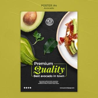 Modello di poster di concetto di avocado