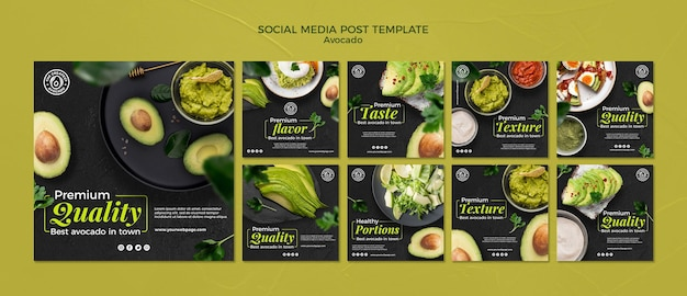 Avocado concept social media post template