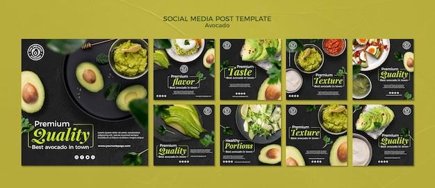 Шаблон сообщения в социальных сетях с концепцией авокадо