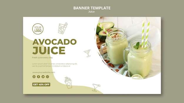 Avocado juice banner template with photo