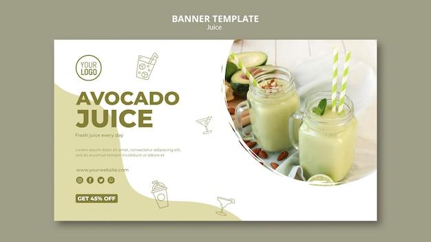 Modello dell'insegna del succo di avocado con la foto