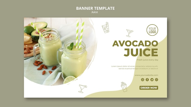 Avocado juice banner template