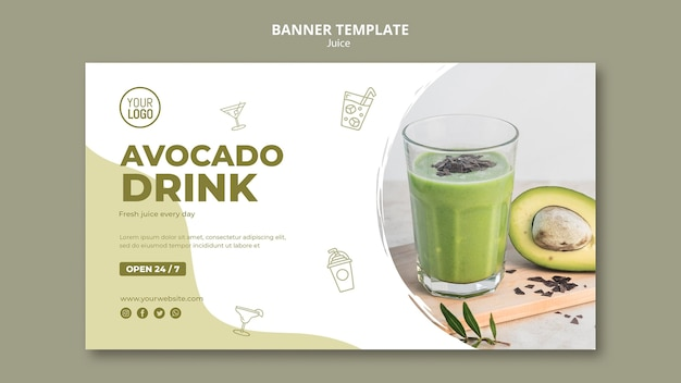 Avocado juice banner with photo
