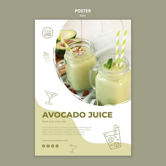 Avocado juice poster template with photo
