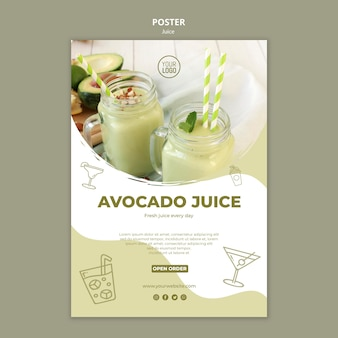 Avocado juice poster template with picture