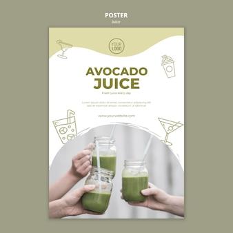 Шаблон плаката сока авокадо