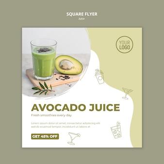 Avocado juice square flyer with photo