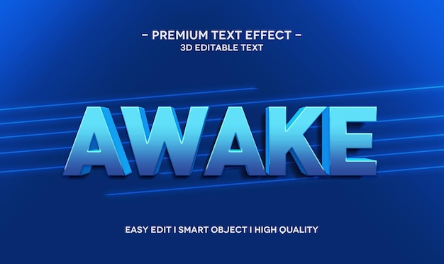 Awake 3d text style effect template