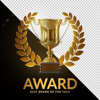 Награда кубка золотой трофей 3d визуализация композиция
