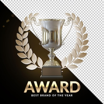 Награда кубка серебряный трофей 3d визуализация композиция