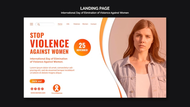 Awareness of violence against women landing page template