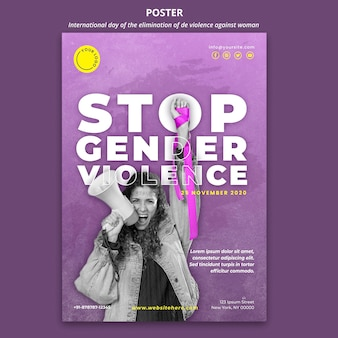 Awareness of violence against women poster with photo