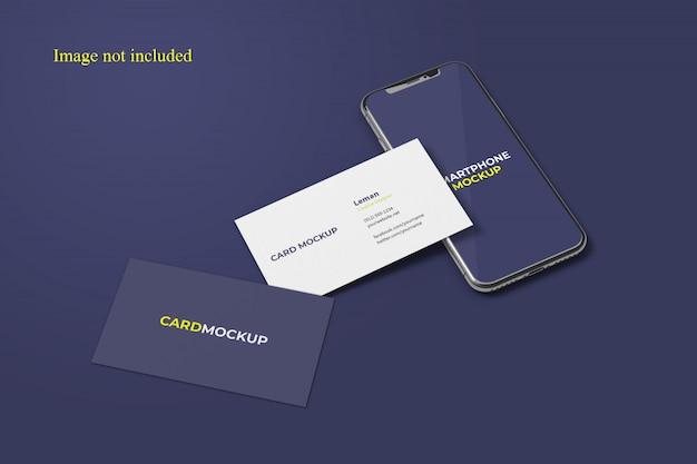Awesome business cards and smartphone mockup