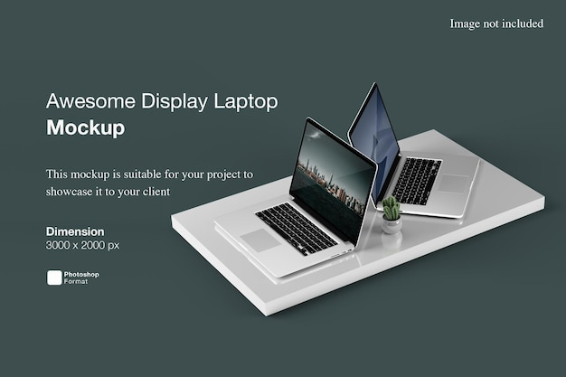 멋진 디스플레이 노트북 목업