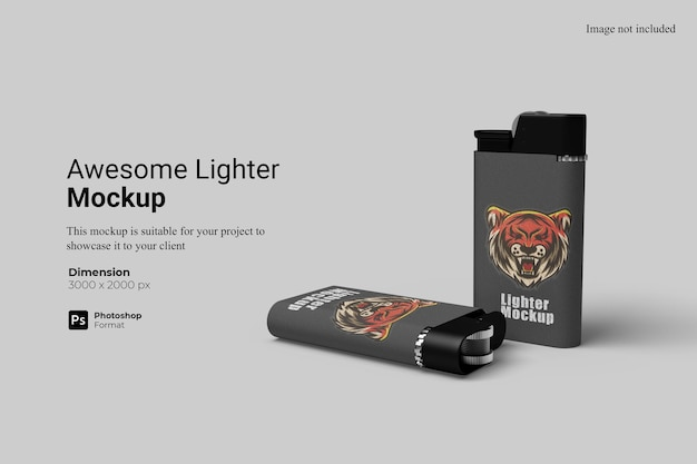 Awesome lighter mockup design isolated