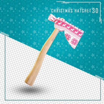 Axe 3d for merry christmas isolated