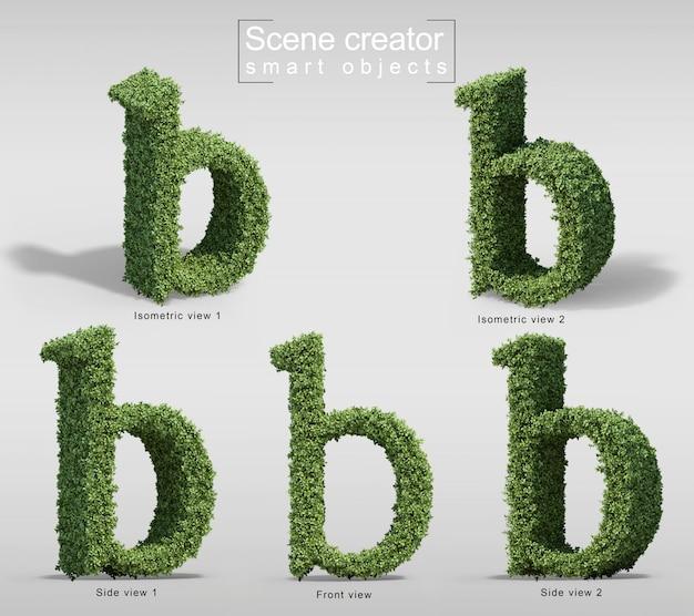 文字bの形の茂みの3 dレンダリング