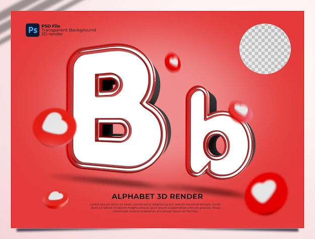 B 알파벳 3d 렌더링 요소와 붉은 색