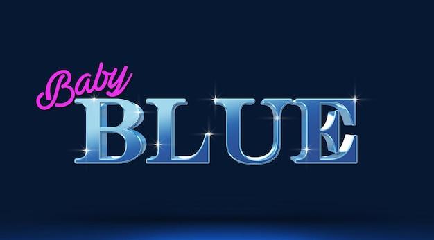 베이비 블루 3d 텍스트 효과 템플릿 프리미엄 PSD 파일