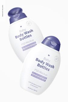 Baby body wash bottles mockup, floating