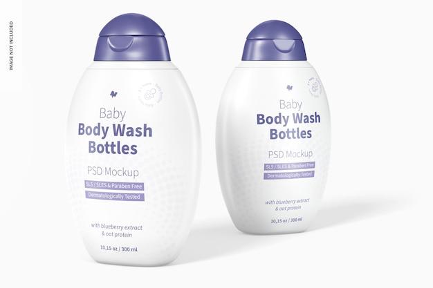 Baby body wash bottles mockup