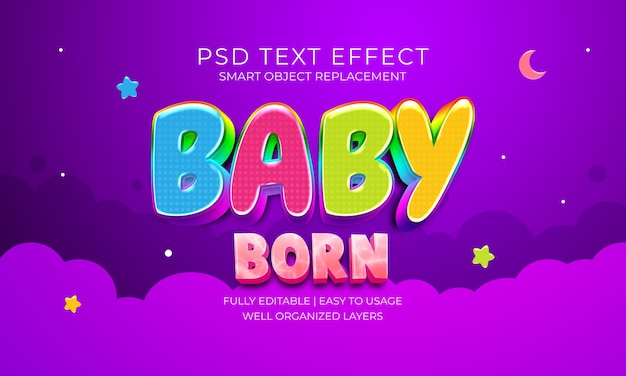 Baby born text effect template