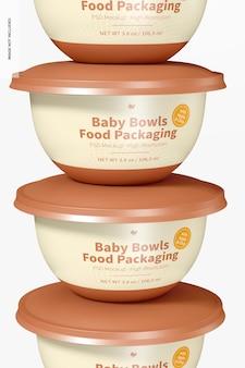Baby bowls food packaging mockup, close-up
